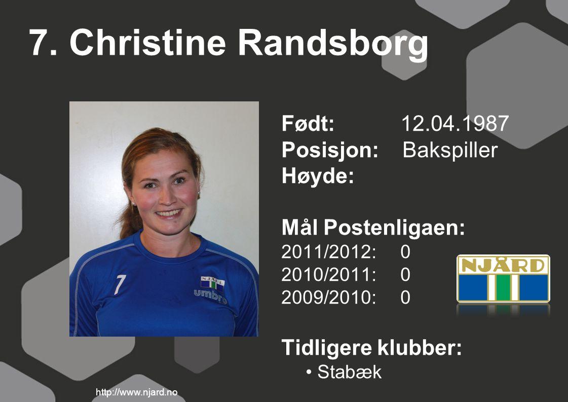 7. Christine Randsborg Født: 12.04.1987 Posisjon: Bakspiller Høyde: