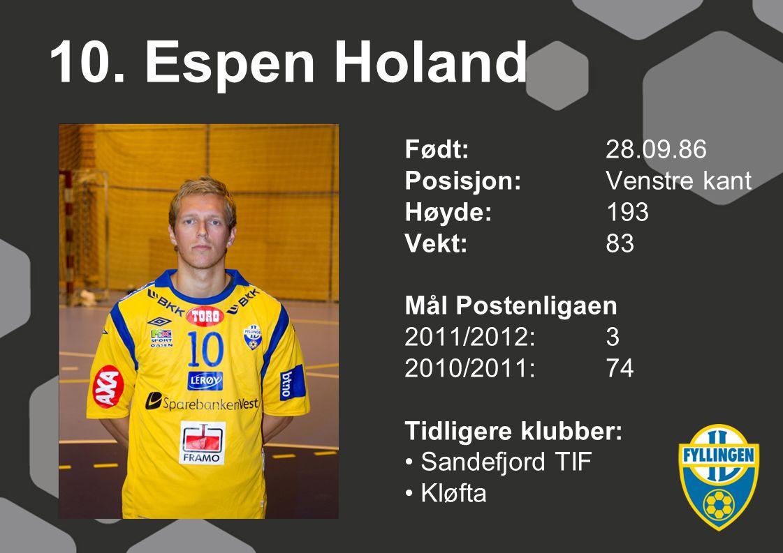 10. Espen Holand Født: 28.09.86 Posisjon: Venstre kant Høyde: 193