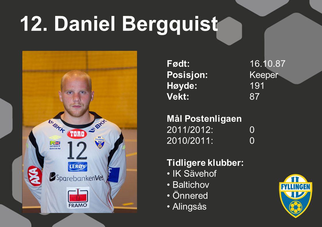 12. Daniel Bergquist Født: 16.10.87 Posisjon: Keeper Høyde: 191