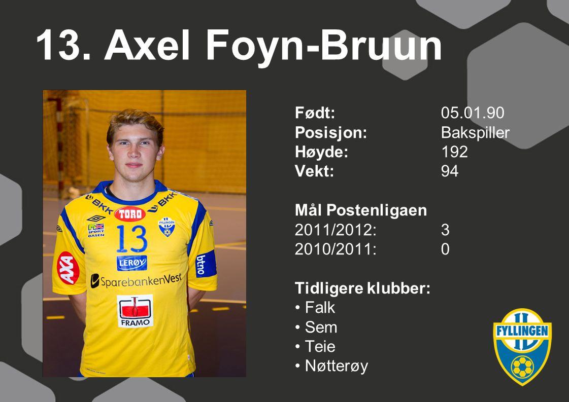 13. Axel Foyn-Bruun Født: 05.01.90 Posisjon: Bakspiller Høyde: 192