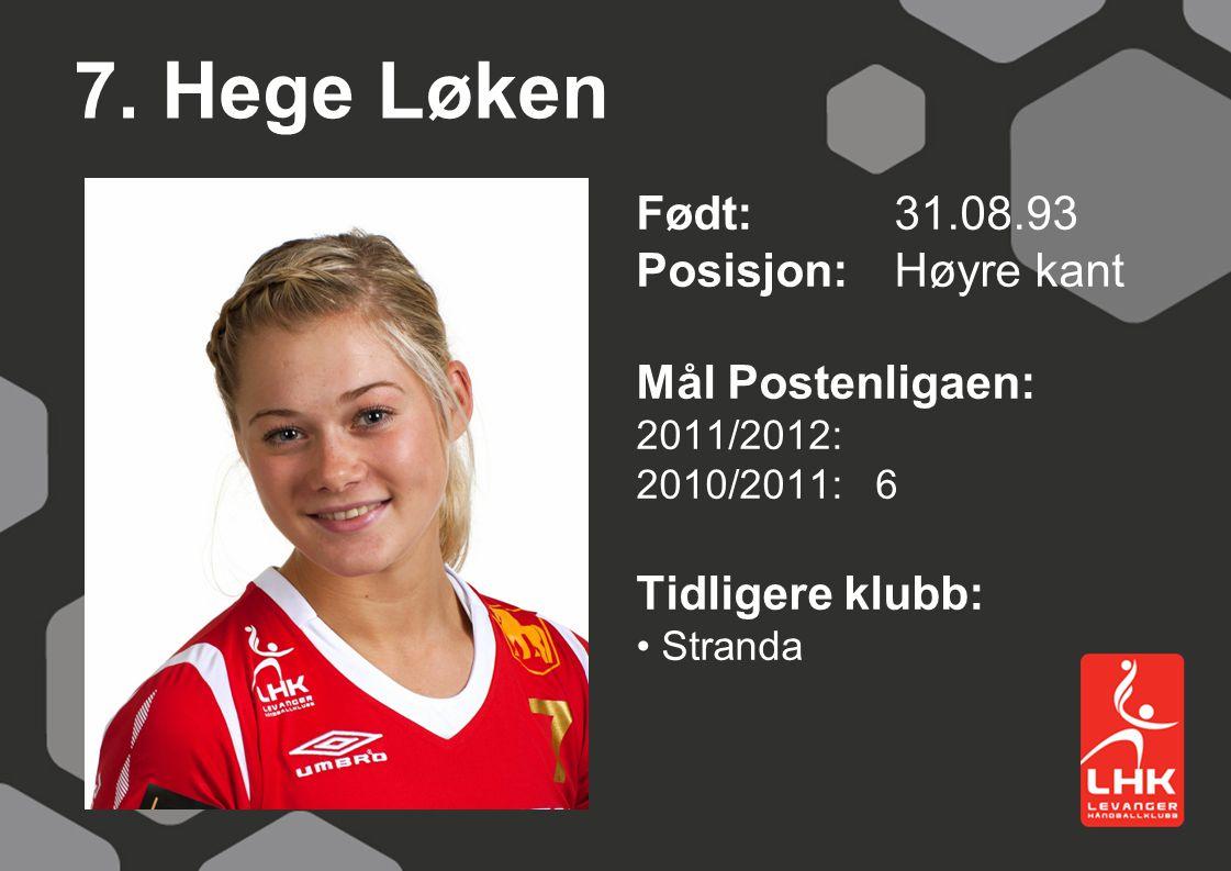 7. Hege Løken Født: 31.08.93 Posisjon: Høyre kant Mål Postenligaen: