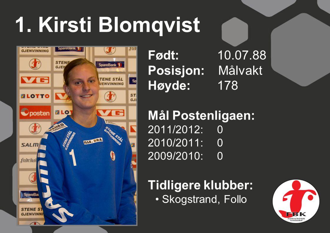 1. Kirsti Blomqvist Født: 10.07.88 Posisjon: Målvakt Høyde: 178