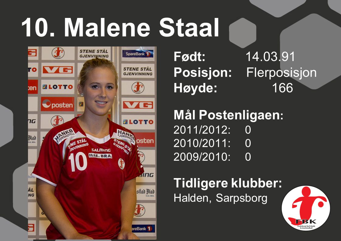 10. Malene Staal Født: 14.03.91 Posisjon: Flerposisjon Høyde: 166