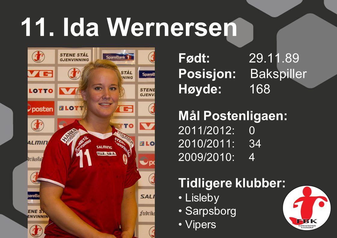 11. Ida Wernersen Født: 29.11.89 Posisjon: Bakspiller Høyde: 168