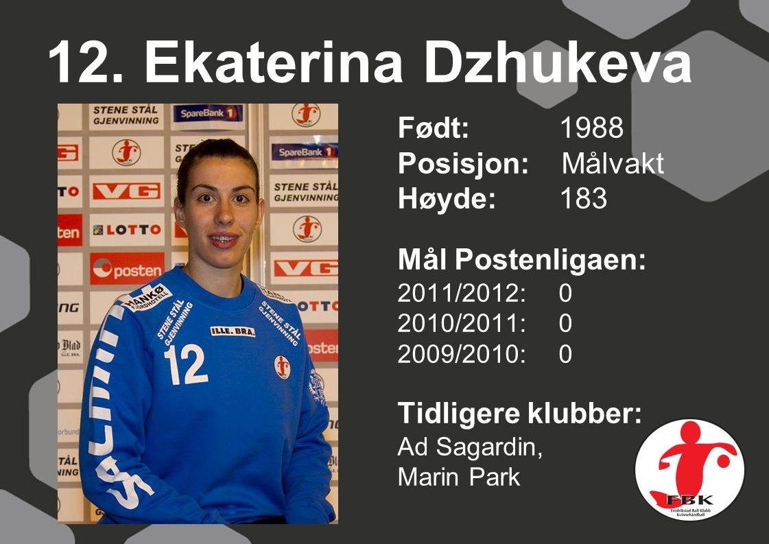 12. Ekaterina Dzhukeva Født: 1988 Posisjon: Målvakt Høyde: 183