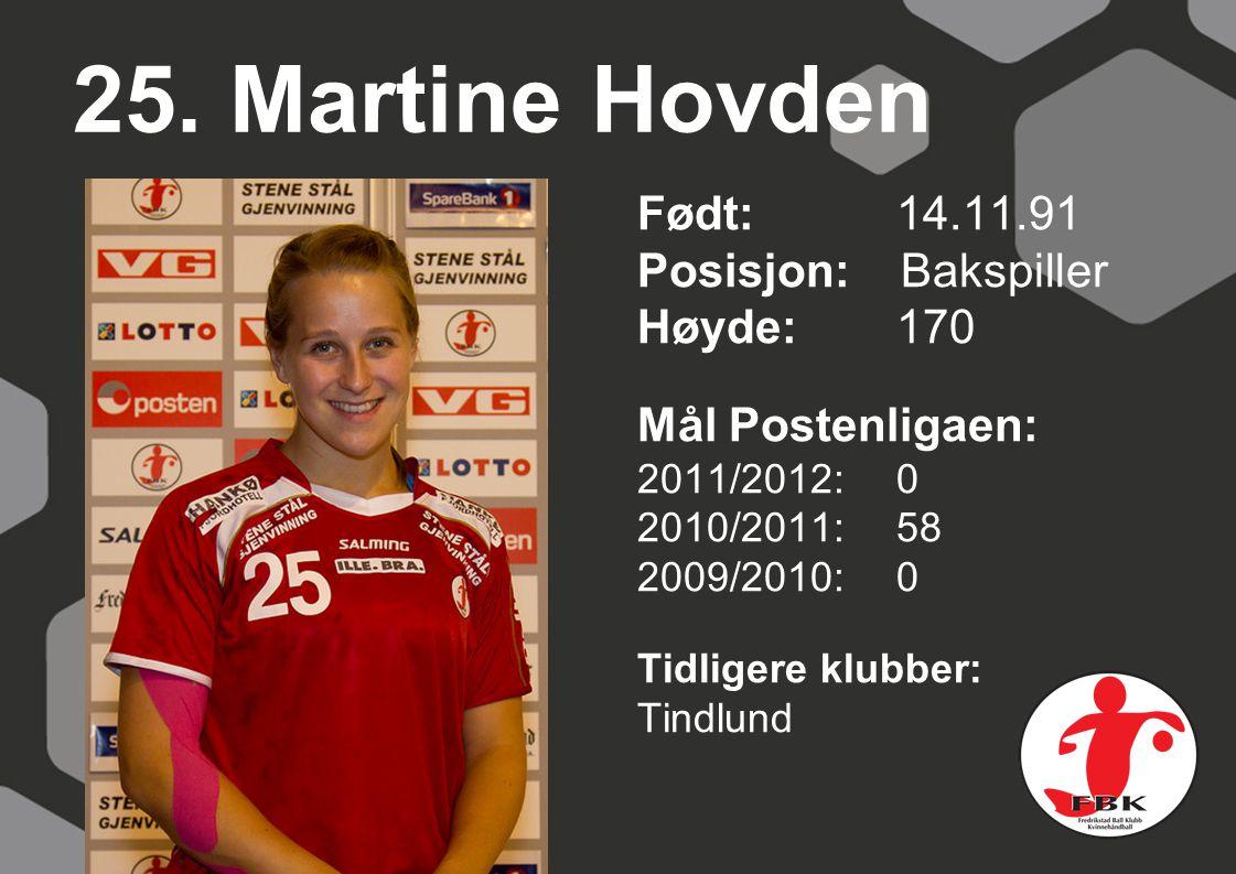 25. Martine Hovden Født: 14.11.91 Posisjon: Bakspiller Høyde: 170