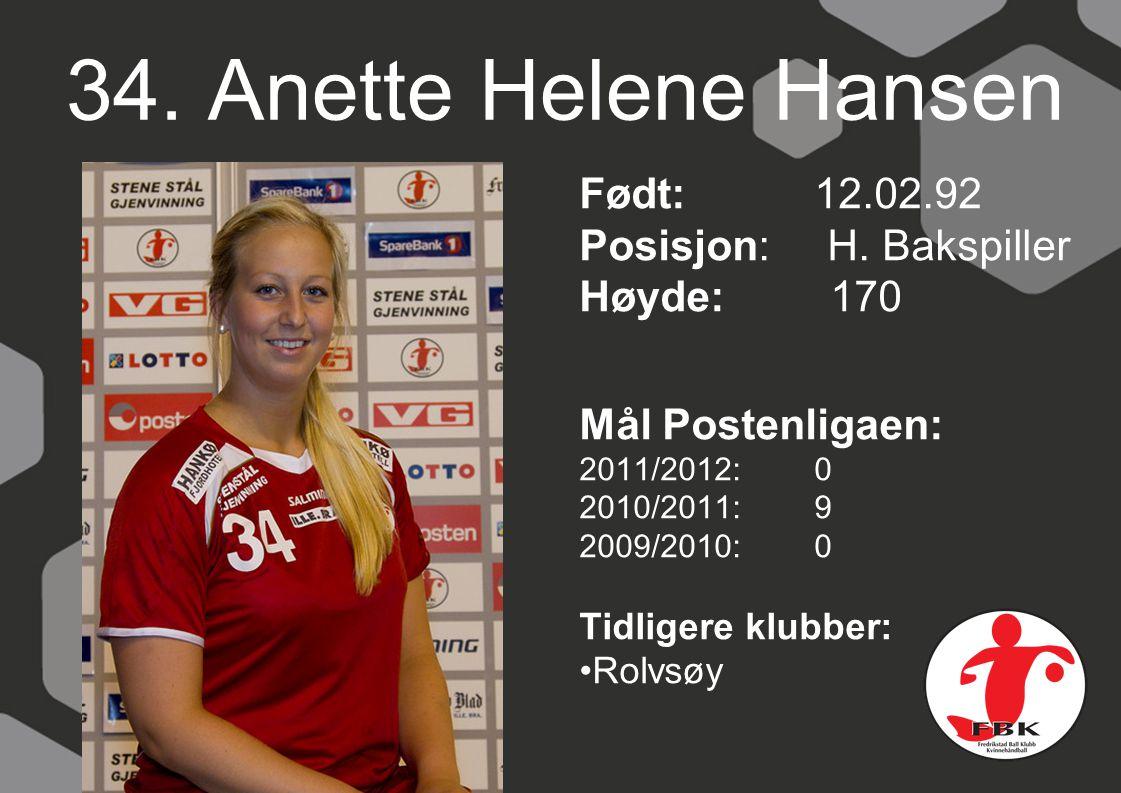 34. Anette Helene Hansen Født: 12.02.92 Posisjon: H. Bakspiller