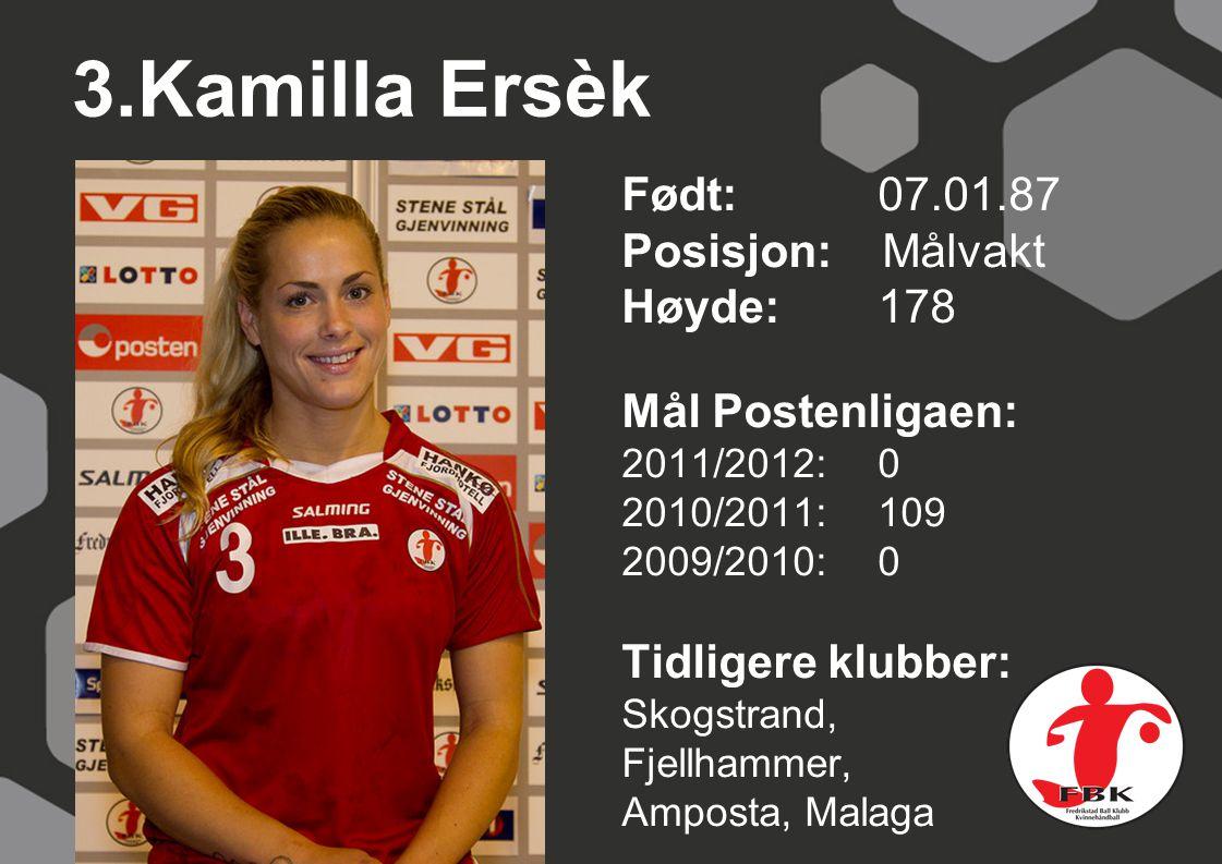 3.Kamilla Ersèk Født: 07.01.87 Posisjon: Målvakt Høyde: 178