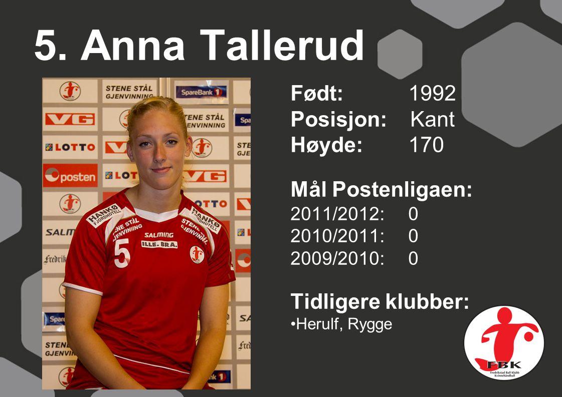 5. Anna Tallerud Født: 1992 Posisjon: Kant Høyde: 170
