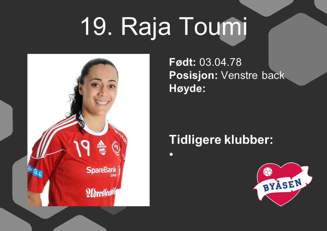 19. Raja Toumi Tidligere klubber: Født: 03.04.78
