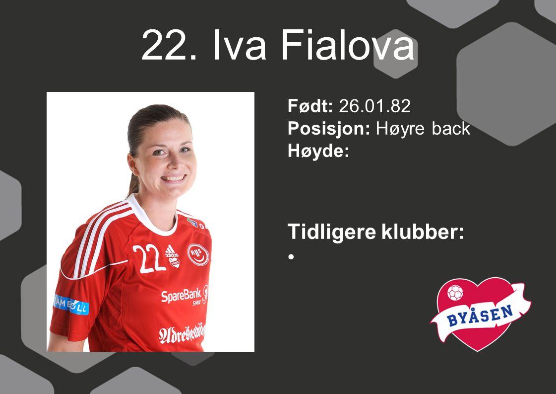 22. Iva Fialova Tidligere klubber: Født: 26.01.82 Posisjon: Høyre back