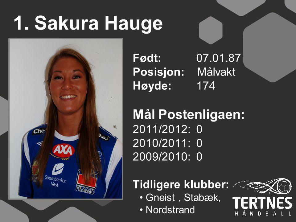 1. Sakura Hauge Mål Postenligaen: Født: 07.01.87 Posisjon: Målvakt
