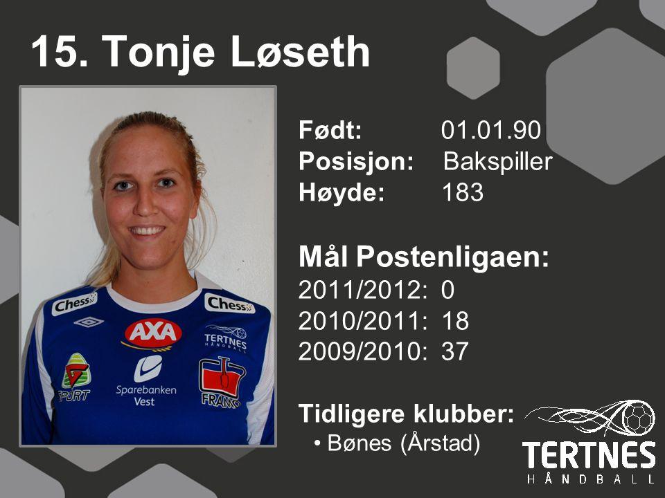 15. Tonje Løseth Mål Postenligaen: Født: 01.01.90 Posisjon: Bakspiller