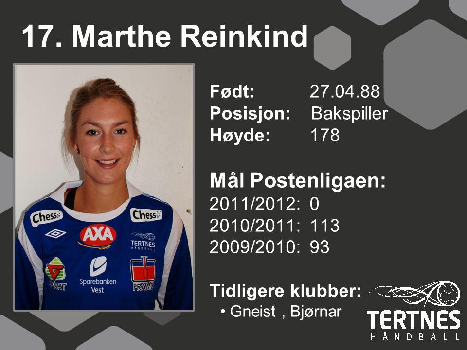 17. Marthe Reinkind Mål Postenligaen:
