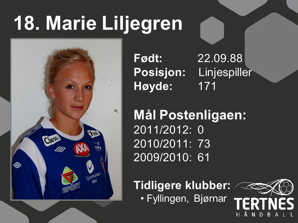 18. Marie Liljegren Mål Postenligaen: