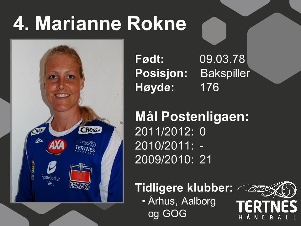 4. Marianne Rokne Mål Postenligaen: