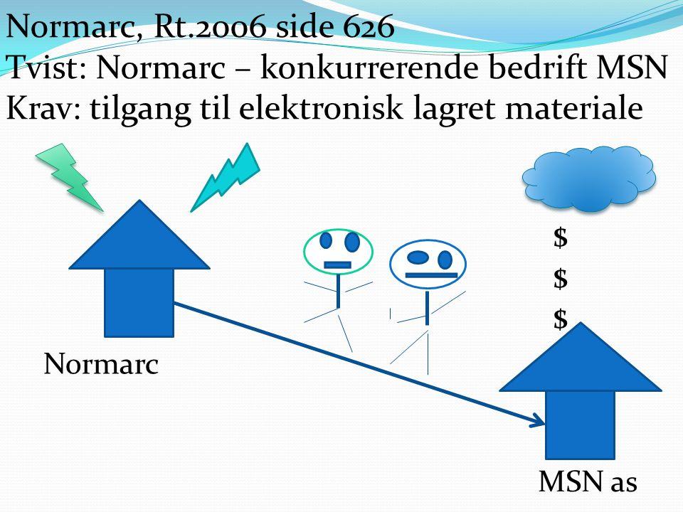 Tvist: Normarc – konkurrerende bedrift MSN