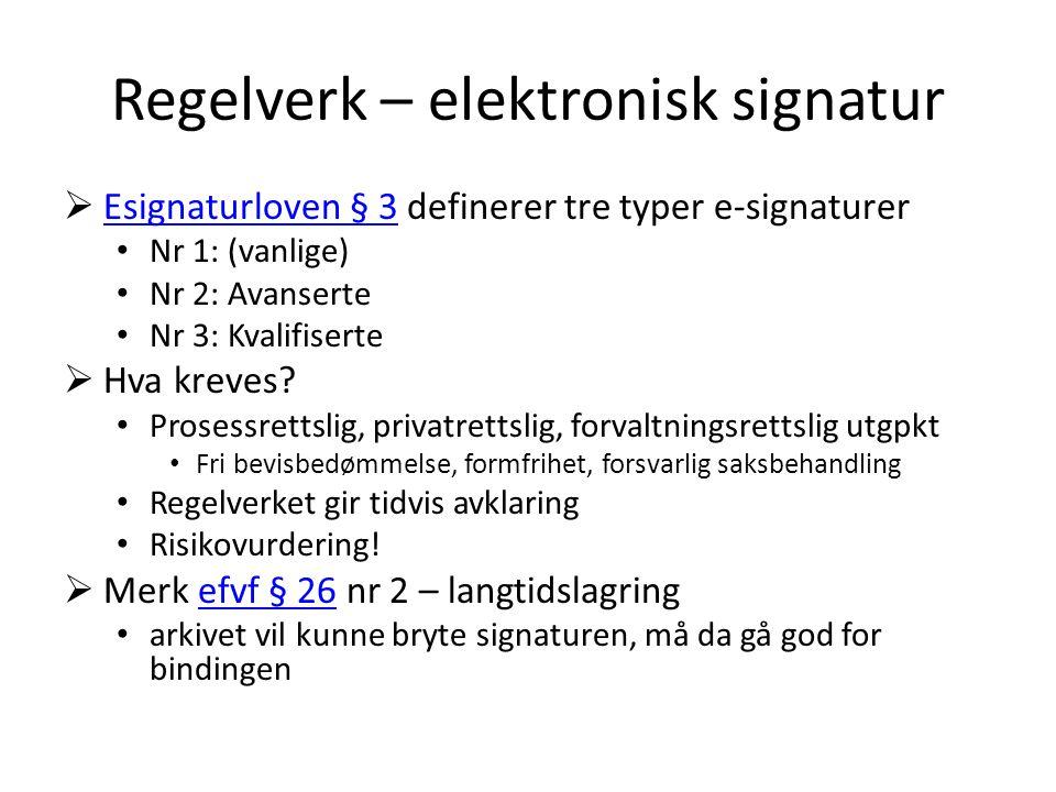 Regelverk – elektronisk signatur