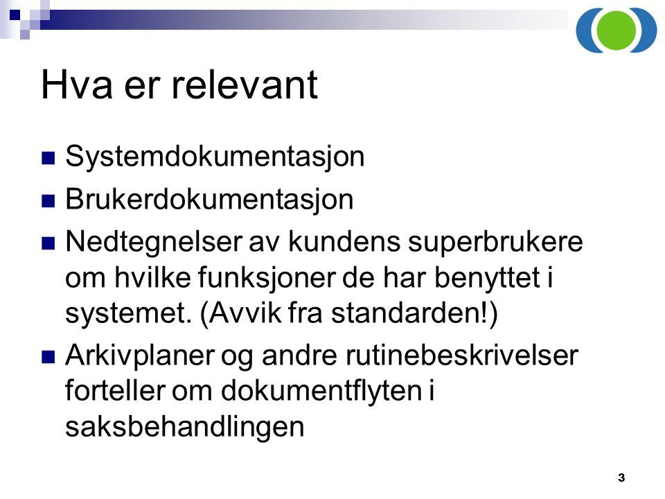 Hva er relevant Systemdokumentasjon Brukerdokumentasjon
