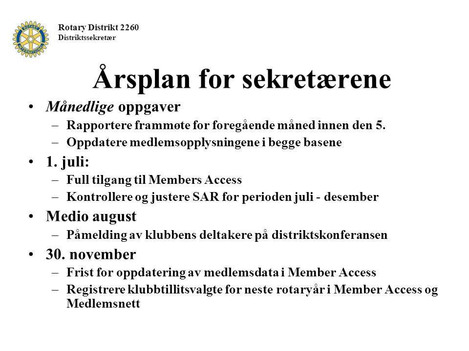 Årsplan for sekretærene