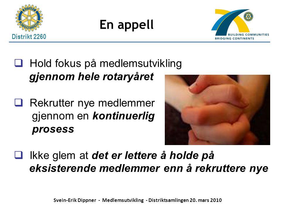 En appell Hold fokus på medlemsutvikling gjennom hele rotaryåret