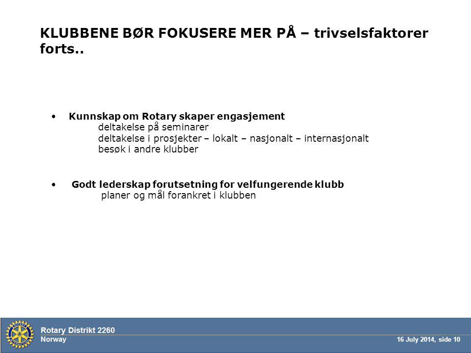 KLUBBENE BØR FOKUSERE MER PÅ – trivselsfaktorer forts..