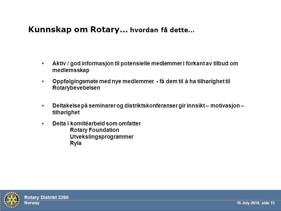 Kunnskap om Rotary… hvordan få dette…