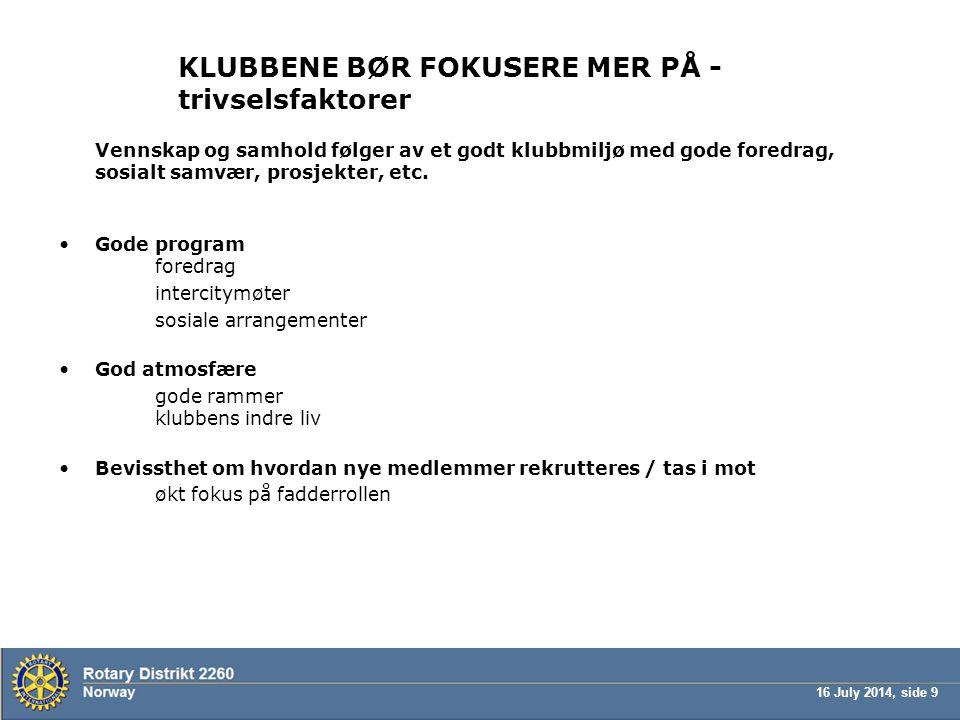 KLUBBENE BØR FOKUSERE MER PÅ - trivselsfaktorer