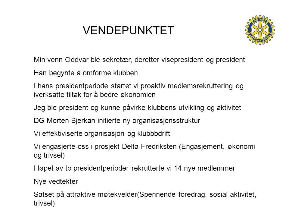 VENDEPUNKTET Min venn Oddvar ble sekretær, deretter visepresident og president. Han begynte å omforme klubben.