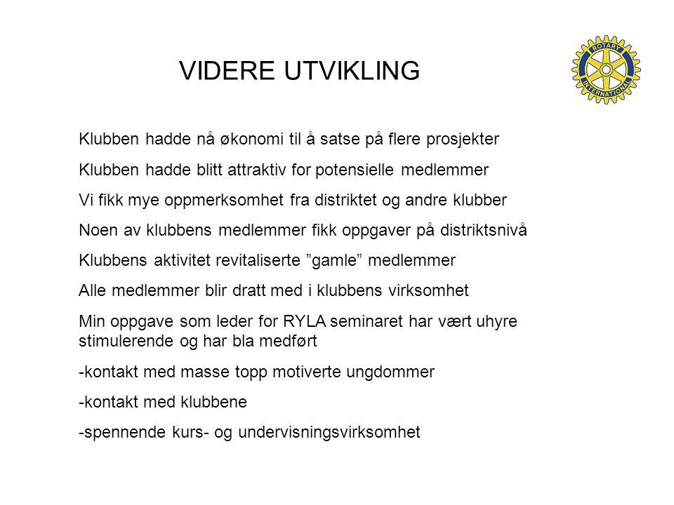 VIDERE UTVIKLING Klubben hadde nå økonomi til å satse på flere prosjekter. Klubben hadde blitt attraktiv for potensielle medlemmer.