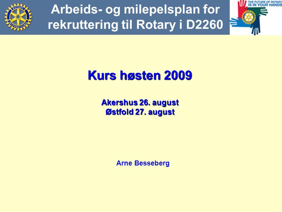 Arbeids- og milepelsplan for rekruttering til Rotary i D2260