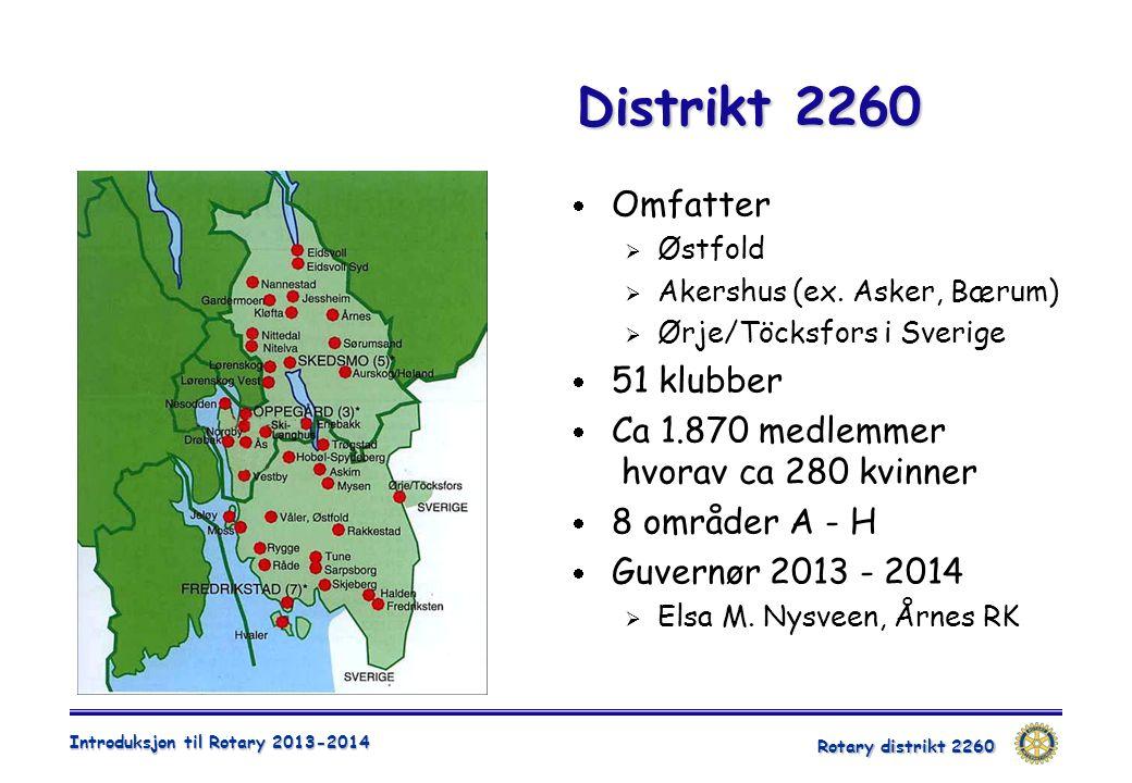 Distrikt 2260 Omfatter 51 klubber