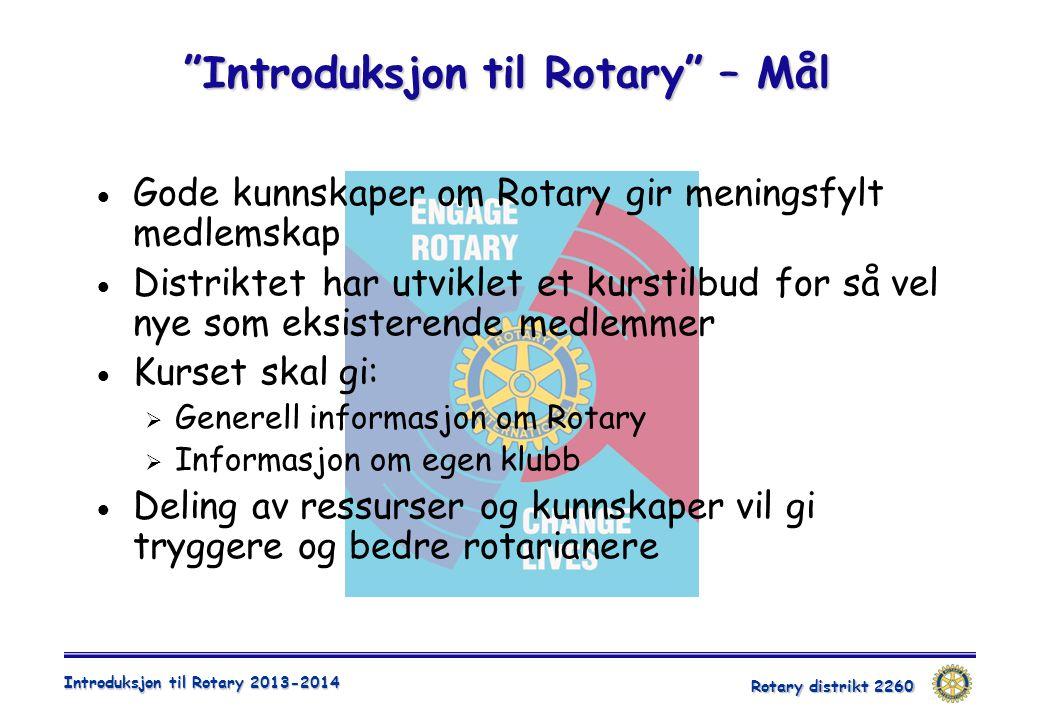 Introduksjon til Rotary – Mål