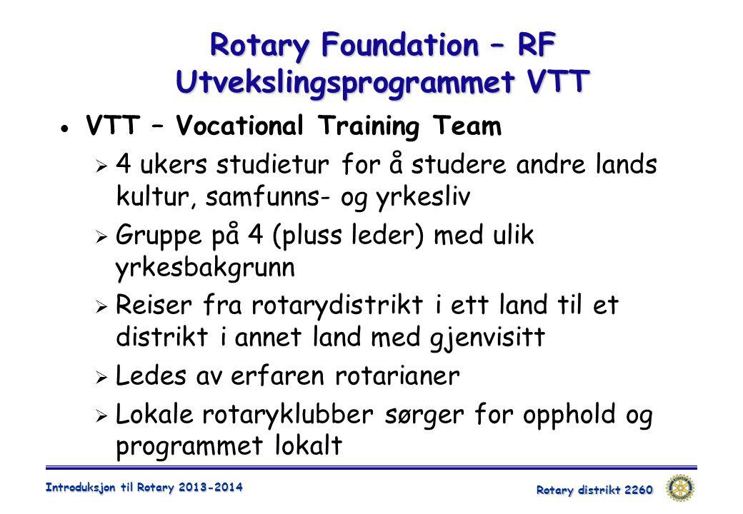 Rotary Foundation – RF Utvekslingsprogrammet VTT