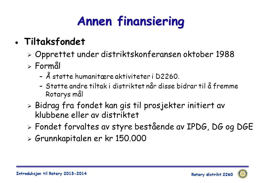 Annen finansiering Tiltaksfondet