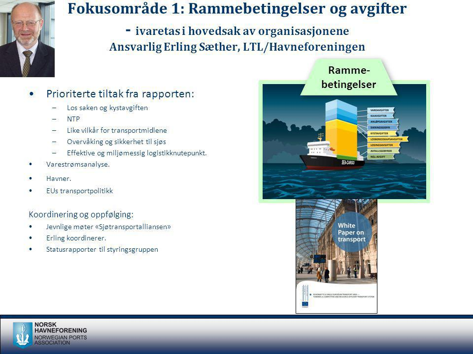 Fokusområde 1: Rammebetingelser og avgifter - ivaretas i hovedsak av organisasjonene Ansvarlig Erling Sæther, LTL/Havneforeningen