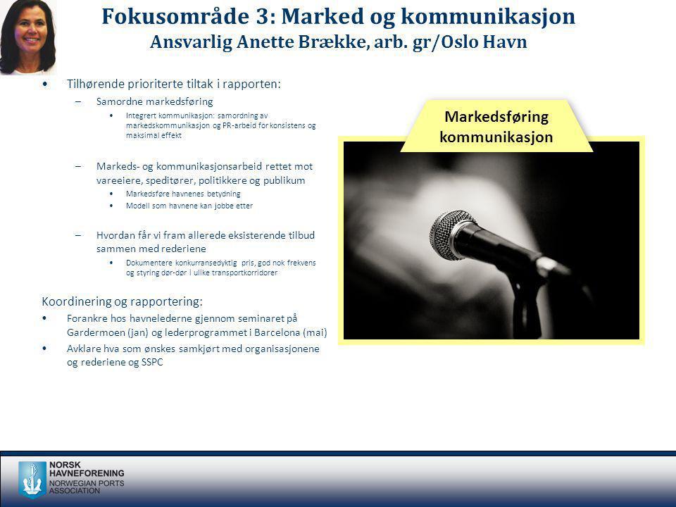 Fokusområde 3: Marked og kommunikasjon Ansvarlig Anette Brække, arb