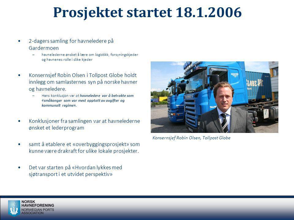 Prosjektet startet 18.1.2006 2-dagers samling for havneledere på Gardermoen.