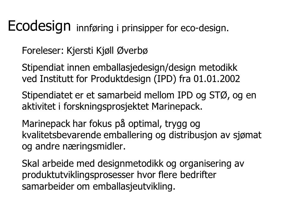 Ecodesign innføring i prinsipper for eco-design.