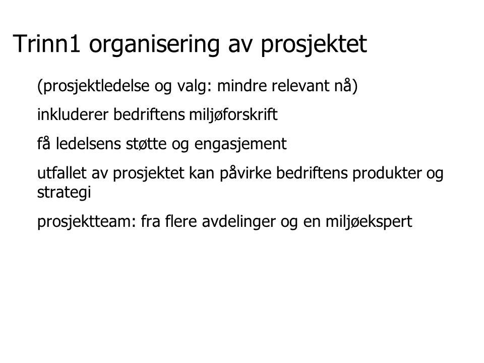 Trinn1 organisering av prosjektet