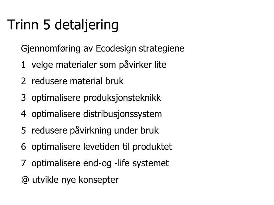 Trinn 5 detaljering Gjennomføring av Ecodesign strategiene
