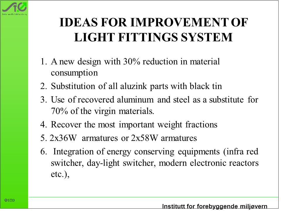 IDEAS FOR IMPROVEMENT OF LIGHT FITTINGS SYSTEM