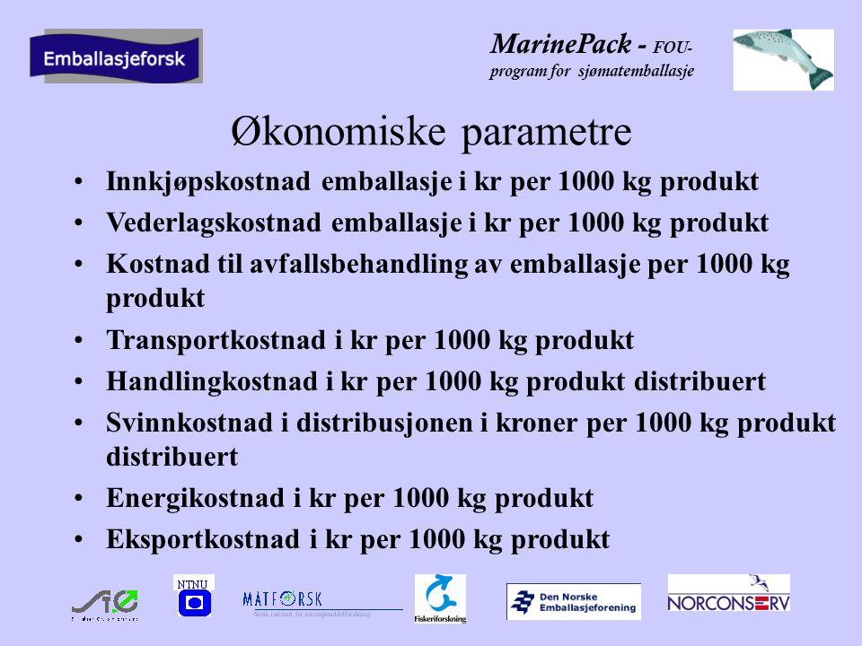 Økonomiske parametre Innkjøpskostnad emballasje i kr per 1000 kg produkt. Vederlagskostnad emballasje i kr per 1000 kg produkt.