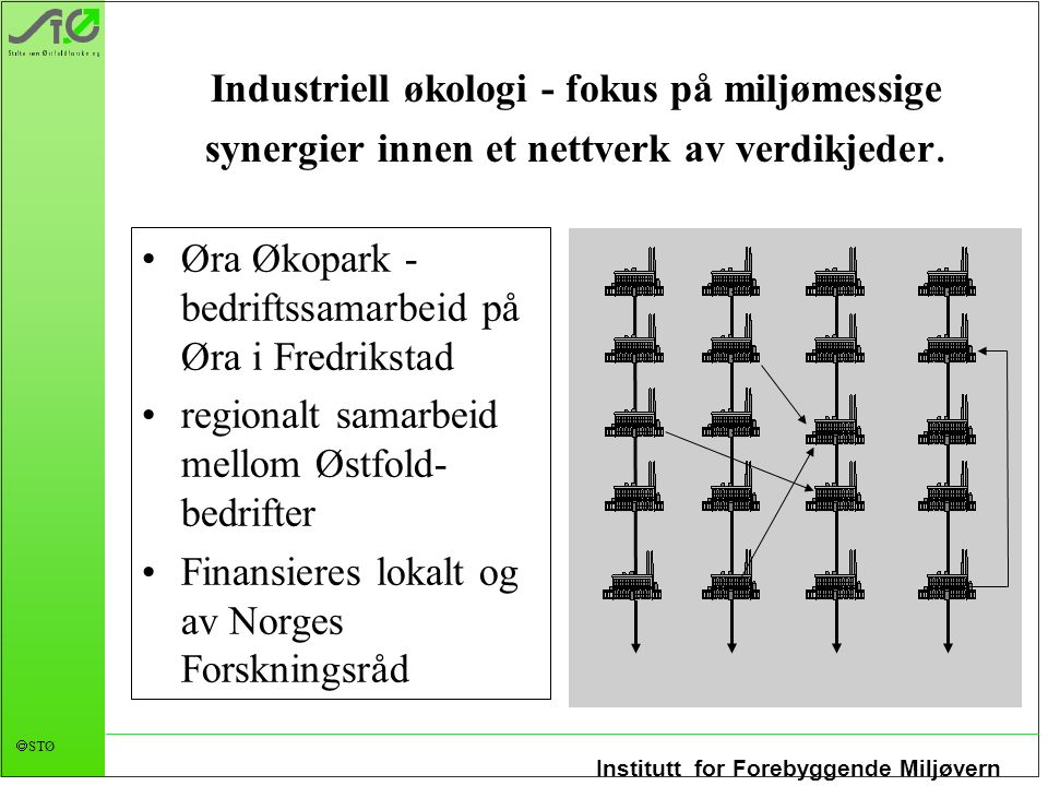 Industriell økologi - fokus på miljømessige synergier innen et nettverk av verdikjeder.