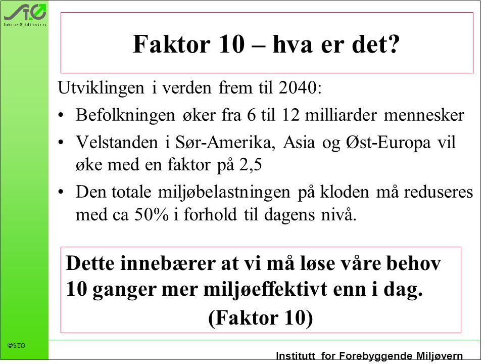 Faktor 10 – hva er det Utviklingen i verden frem til 2040: Befolkningen øker fra 6 til 12 milliarder mennesker.