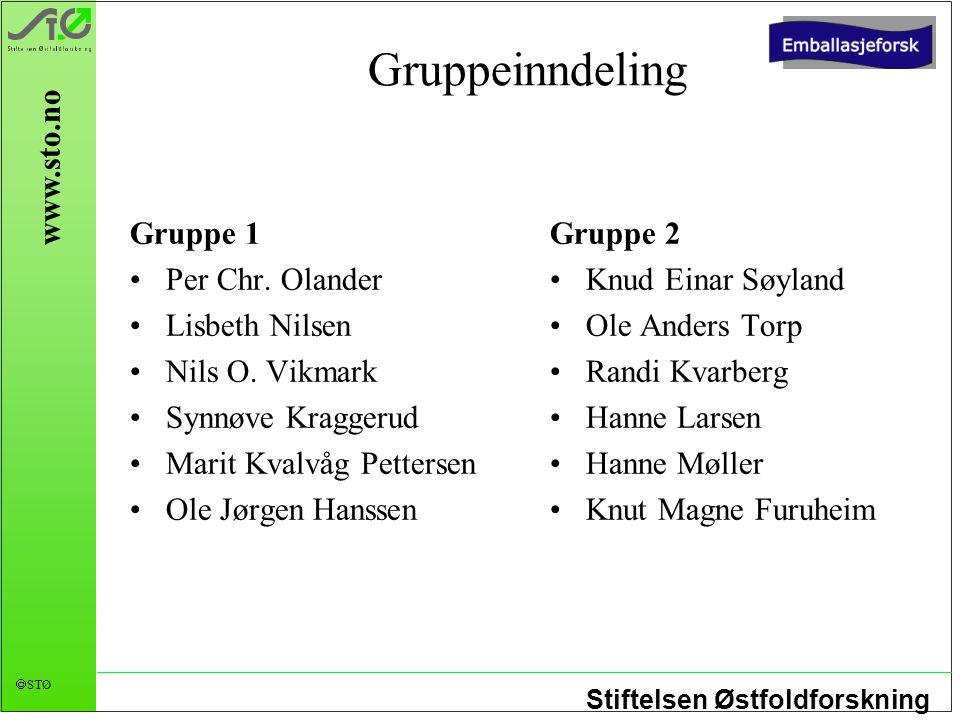 Gruppeinndeling Gruppe 1 Per Chr. Olander Lisbeth Nilsen