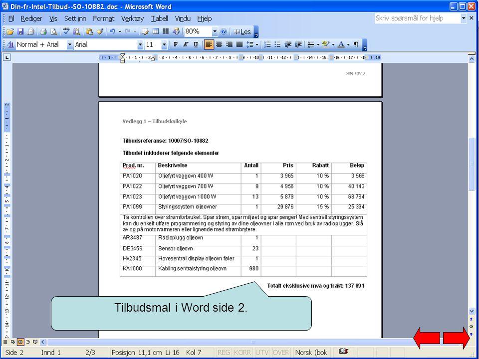 Tilbudsmal i Word side 2.