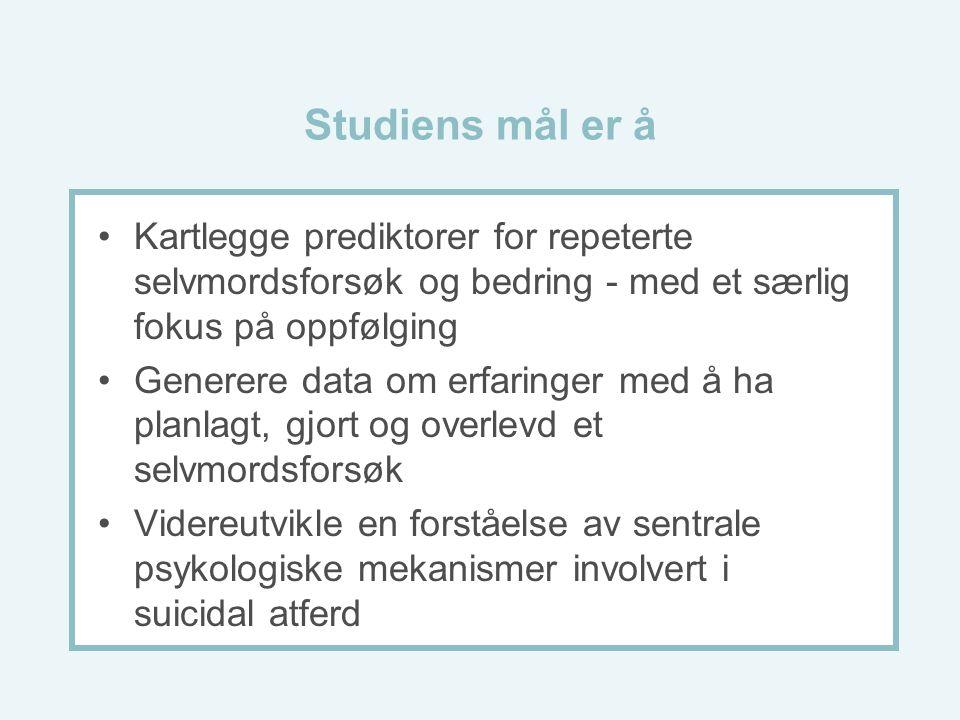 Studiens mål er å Kartlegge prediktorer for repeterte selvmordsforsøk og bedring - med et særlig fokus på oppfølging.