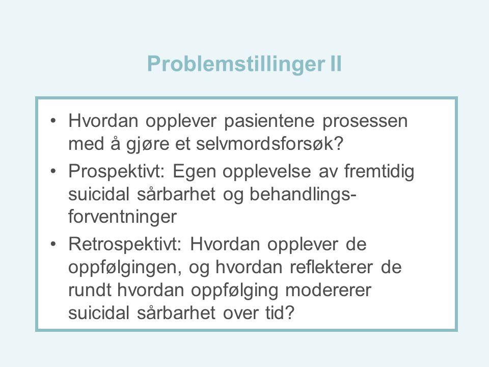 Problemstillinger II Hvordan opplever pasientene prosessen med å gjøre et selvmordsforsøk