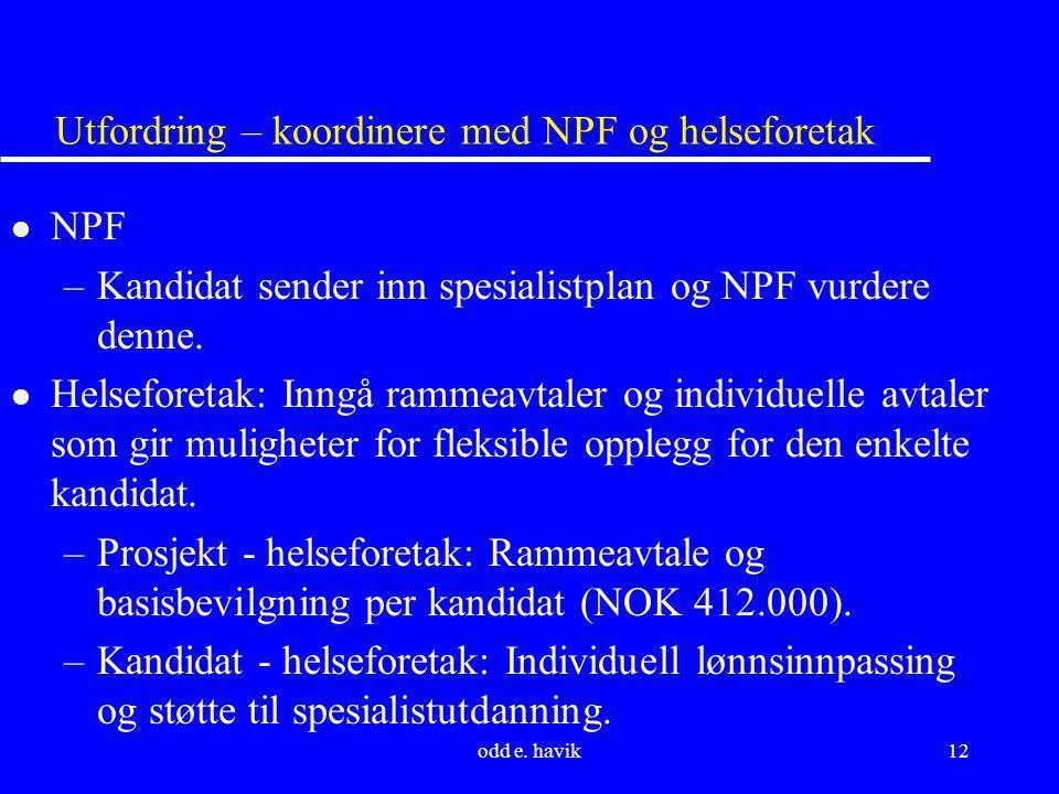 Utfordring – koordinere med NPF og helseforetak